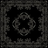 Bandana, black and white pattern with roses . Vector print square. Royalty Free Stock Photo