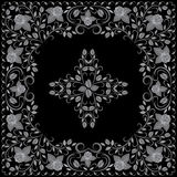 Bandana, black and white pattern with roses . Vector print square. Stock Photo