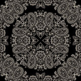 Bandana black and white.  Vector print square. Royalty Free Stock Image