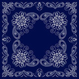 Bandana blue and white with paisley and flowers. Vector print square. Royalty Free Stock Photo