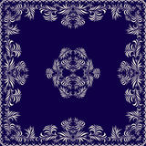 Bandana, blue and white pattern with leaves . Vector print square. Royalty Free Stock Image