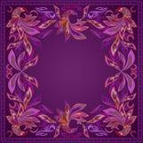 Bandana, bright burgundy pattern with magic bird. Vector print square. Royalty Free Stock Photography