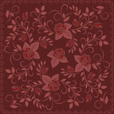 Bandana, burgundy σχέδιο με τα τριαντάφυλλα Διανυσματικό τετράγωνο τυπωμένων υλών Στοκ Εικόνα