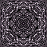 Bandana classy black and white. Vector print square. Royalty Free Stock Image