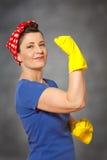 Bandana dei guanti di pulizia del pulitore della donna immagine stock