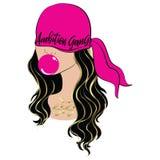 Bandana et fille roses de bubble-gum illustration stock