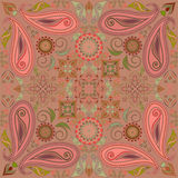 Bandana pastel with paisley and flowers. Vector print square. Stock Photos