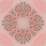 Bandana pink pastel colors.  Vector print square. Traditional ethnic ornamental pattern with decorative elements and paisley. Etno design. Graphic for t-shirt Stock Photography