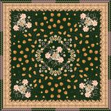 Bandana print with beautiful floral and paisley ornament on dark green background. Ethnic motives stock illustration