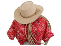 Bandana print blouse western hat rope Royalty Free Stock Photos