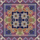 Bandana print or carpet with paisley and flowers mandalas Stock Photography
