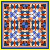 Bandana print with kaleidoscope. Geometric ornamental background Royalty Free Stock Image