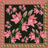 Bandana print or pocket design with pink lily flowers on black background and paisley border in ethnic style in vector. Indian motives vector illustration