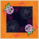 Bandana print or silk neck scarf. Hand drawn verbena flowers Royalty Free Stock Photo