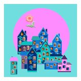 Bandana print or silk neck scarf. Morning dream - card with blue town. Stock Photos