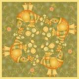Bandana print, tablecloth or panel with beautiful birds Royalty Free Stock Photo