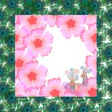 Bandana print, tablecloth, panel, cover or greeting card with bird and flowers Royalty Free Stock Images