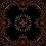 Bandana red and black pattern with flowers and paisley . Vector print square. Stock Photos