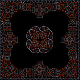 Bandana red and black pattern with flowers and paisley . Vector print square. Royalty Free Stock Photos