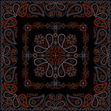 Bandana red and black pattern with flowers and paisley . Vector print square. Stock Photography