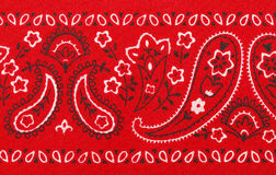 Bandana. Red Bandana Close Up with Flower Paisley Design Royalty Free Stock Images