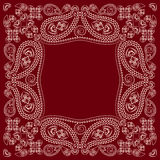 Bandana red and white with paisley and flowers. Vector print square. Royalty Free Stock Images