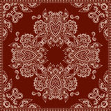 Bandana red and white.  Vector print square. Stock Photo