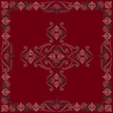 Bandana vintage red with roses. Vector print square. Royalty Free Stock Photo