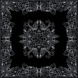 Bandana white and black pattern with flowers and berries . Vector print square. Stock Images