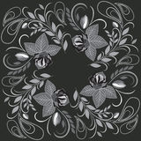 Bandana white and black pattern with roses and paisley . Vector print square. Stock Photos
