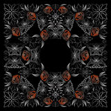 Bandana white and black pattern with roses Stock Photo