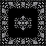 Bandana white and black pattern with roses . Vector print square. Stock Photos