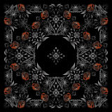 Bandana white and black pattern with roses . Vector print square. Stock Photography
