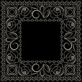 Bandana white and black pattern with roses . Vector print square. Royalty Free Stock Photo