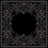 Bandana white and black pattern with roses . Vector print square. Royalty Free Stock Photography