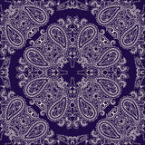 Bandana white and blue.  Vector print square. Traditional ethnic ornamental pattern with paisley and flowers. Etno design Stock Photos