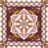 Bandanna with abstract ornament on a brown background Royalty Free Stock Photo