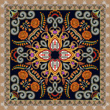 Bandanna with a bright pattern, decorated with orange roses, fox Stock Images