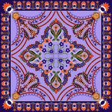 Bandanna with colorful paisley and decorative stripes, decorated Stock Photography