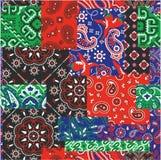 Bandanna e retalhos nativos da tela do lenço dos motivos Fotos de Stock Royalty Free