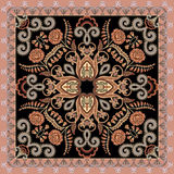 Bandanna with floral motif decorated with gray curls on a dark b. Bandanna with floral motif in peach burgundy color, decorated with gray curls on a dark Royalty Free Stock Photos