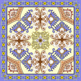 Bandanna  with lilac  brown ornaments on a light yellow backgrou Royalty Free Stock Image