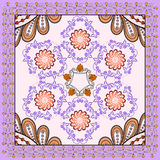 Bandanna  with lilac  orange ornament on a light background Stock Images