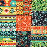 Bandanna and native motifs kerchief fabric patchwork. Bandanna and native collage vector seamless patterns royalty free illustration
