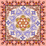 Bandanna with Oriental ornament with a colorful border Stock Photo