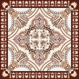 Bandanna  with paisley and decorative stripes - in beige and bro Stock Image