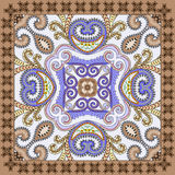 Bandanna in purple tones,  decorated paisley and swirls with bla Royalty Free Stock Photography
