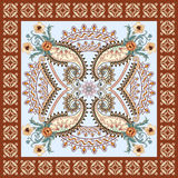 Bandanna with  wave ornaments, decorated  light yellow  paisley Royalty Free Stock Photography