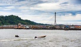 Bandar Seri Begawan, Brunei Darussalam-MARS 31,2017: Sikt på byn på vatten Arkivbilder