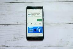 BANDAR SERI BEGAWAN, BRUNEI - 21 JANVIER 2019 : Application de navigateur de Mcent sur un Google Play Store androïde image libre de droits
